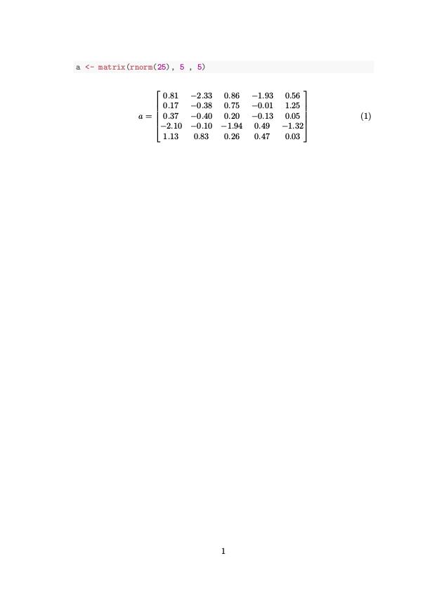 Print R Matrices in LaTeX Math Environments   Brett Klamer